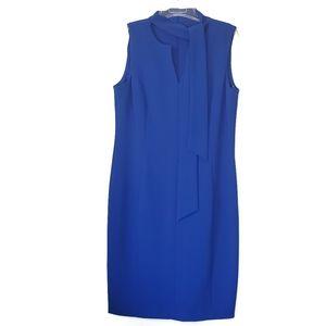 NWT Calvin Klein Royal Blue V-Neck Tie Sheath Dress